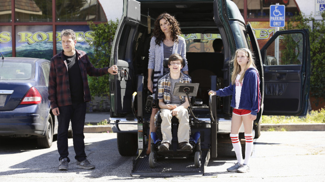 "SPEECHLESS - ""Pilot"" - Maya DiMeo moves her family to a new, upscale school district when she finds the perfect situation for her eldest son, JJ, who has cerebral palsy. While JJ and daughter Dylan are thrilled with the move, middle son Ray is frustrated by the family's tendencies to constantly move, since he feels his needs are second to JJ Soon, Maya realizes it is not the right situation for JJ and attempts to uproot the family again. But JJ connects with Kenneth, the school's groundskeeper, and asks him to step in as a his caregiver, and Ray manages to convince Maya to give the school another chance, on the series premiere ""Speechless"" WEDNESDAY, SEPTEMBER 21 (8:30-9:00 p.m. EDT), on the ABC Television Network. (ABC/Nicole Wilder) JOHN ROSS BOWIE, MINNIE DRIVER, MICAH FOWLER, KYLA KENEDY"